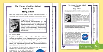 The Women Who Helped to Build NASA - Mary Jackson Fact File - Hidden, Figures, African American, History, Science, Space, engineering, women in science,