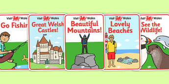 Wales Tourist Information Role Play Attraction Posters - roleplay