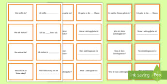 All About Me Conversation Cards German - All about me, Getting to know you, German, MFL, Basic phrases, Languages