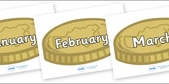 Months of the Year on Coins - Months of the Year, Months poster, Months display, display, poster, frieze, Months, month, January, February, March, April, May, June, July, August, September