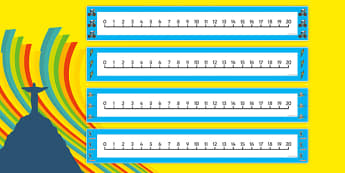 The Olympics Number Line (0-20) - Olympics, Olympic Games, sports, Olympic, London, 2012, Counting, Numberline, Number line, Counting on, Counting back, activity, Olympic torch, flag, countries, medal, Olympic Rings, mascots, flame, compete, events,