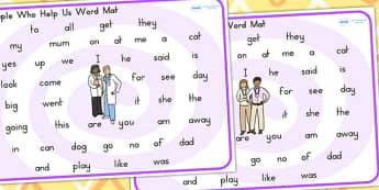 People Who Help Us Prep and Kindergarten Word Mat - keywords
