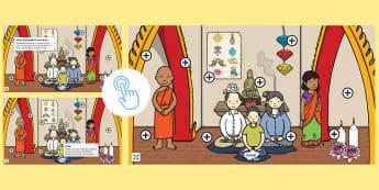 Buddhism Picture Hotspots - Buddhist, Buddha, Interactive, Information, Facts, Twinkl Go, twinkl go, TwinklGo, twinklgo