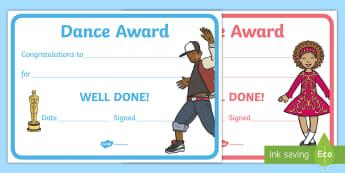 Reward Certificates   Dance Award Certificate - dance, award, certificate, certificates,  PE, physical education