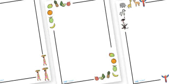 Handa's Surprise Page Borders - Handa's Surprise, Eileen Browne, resources, Handa, Akeyo, mango, guava, Africa, avacado, passion fruit, monkey, African animals, story, story book, story book resources, story sequencing, story resources, Literacy, wri