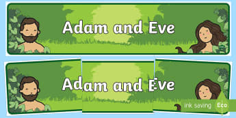 Adam and Eve Display Banner - usa, america, Adam, Eve, Eden, serpent, fruit, earth, garden, creation, creation story, display, banner, sign, poster, paradise, sea creatures, birds, stars, moon, sun, tree, evil, knowledge, animals, sky, night, day