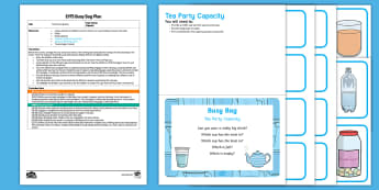 EYFS Tea Party Capacity Busy Bag Plan and Resource Pack - tea party, tea set, pouring, filling, full, empty, role-play, imaginary play, early maths, practical