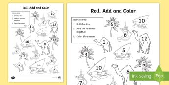 National Day Roll and Color Activity Sheet - National Day, UAE National Day, UAE Holidays, UAE Celebrations, UAE, worksheet
