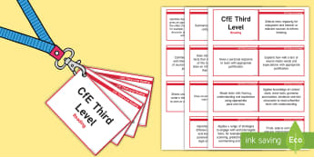 *NEW* CfE Third Level Reading Lanyard-Sized Benchmarks - third level reading assessment benchmarks,Scottish