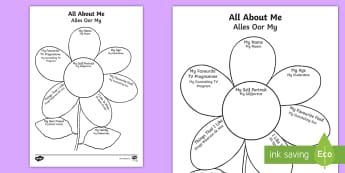 All About Me Flower Writing Template English/Afrikaans - petals, nature, literacy, pencil, pen, fine motor skills, geletterdheid, EAL