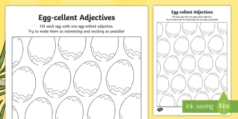 Egg-cellent Adjectives Activity Sheet - CfE Easter,adjectives,vocabulary, grammar, descriptive writing, ambitious vocabulary,Scottish