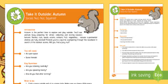 KS1 Take It Outside: Autumn Social - Nut, Nut, Squirrel Activity - Little Acorns, twinkl originals, fiction, Outdoor and Woodland Learning, Wonder Investigate Learn Di