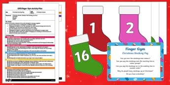 EYFS Christmas Stocking Peg Finger Gym Plan and Resource Pack