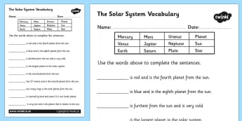 Solar System Vocabulary Worksheet - solar system, solar system worksheet, solar system vocabulary, planet names, solar system complete the sentences, ks2