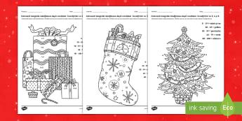 Crăciun: Colorează după codul produsului Pagini de colorat mindfulness - înmulțirea, inmultirea, inmultire, inmultiri, înmulțiri, înmulțire, exerciții, activitati de