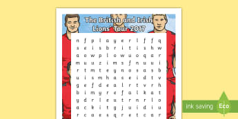 The British and Irish Lions Tour 2017 Word Search - NI - The Lions Tour rugby British Irish New Zealand match score venue player squad