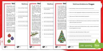 Weihnachtsbäume Leseverstehen Arbeitsblätter: Unterschiedliche Schwierigkeitsgrade   - Weihnachten, weihnachtlich, lesen, Christbaum, Tannenbaum, ,German