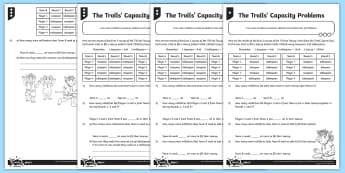 The Trolls\' Capacity Problems Differentiated Activity Sheets - measurement, volume and capacity, capacity, word problems