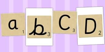 A to Z on Letter Tiles - a, z, alphabet, letters, scrabble, tiles