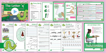 The Journey to Cursive: The Letter \'q\' (Curly Caterpillar Family Help Card 8) KS2 Activity Pack - English - handwriting, Nelson handwriting, penpals, fluent, joined, legible, letterjoin,