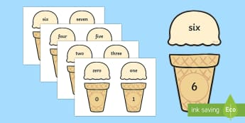 Ice Cream Cone Number and Word Matching Activity - ice cream cone, number, word, matching, activity