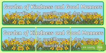 Garden of Kindness Display Banner English/French - Flower Banner Garden of Kindness - flower, banner, garden, kind, kindess, abnner, EAL French,French-