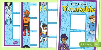Superhero Themed 12 Box Vertical Visual Timetable - superhero, 12, box, vertical, visual, timetable