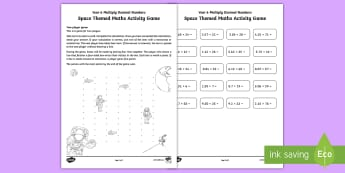 Year 6 Multiply Decimal Numbers Space-Themed Activity Maths Game - multiplication, formal written method, space, elon musk, astronaut, multiplying decimal numbers, sat