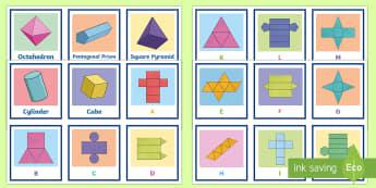 3D Shapes and Nets Matching Cards - Match the 3D Net Activity Sheet - 3d, net, worksheet, match, sheet, activity sheet