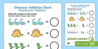 Dinosaur Addition Sheet German/English - dinosaur themed, addition sheet, addition, addition worksheet, EAL, German, learning German,German