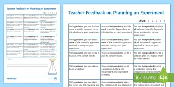 Planning an Experiment Formative Assessment Sheet - experiment design, planning an investigation, planning an experiment, experiment skills, general sci