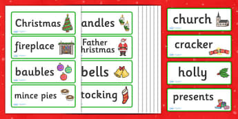 Christmas Topic Word Cards - Christmas, xmas, word card, flashcard, word cards, tree, advent, nativity, santa, father christmas, Jesus, tree, stocking, present, activity, cracker, angel, snowman, advent , bauble