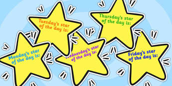 Editable Weekday Star of the Week on Stars - star of the week