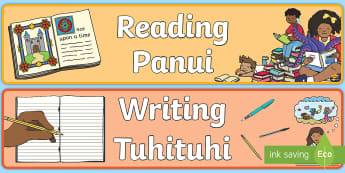 Reading and Writing Display Banner - Maths Area, Pāngarau, Te Reo Māori, Ngā Tohu Akomanga, organise, poster, colourful, mathematics,