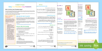 A Parent's Guide to the Early Years Foundation Stage Framework Arabic/English - EYFS curriculum, under 5s,eylf, eyfa,Arabic-translation