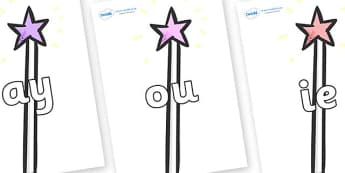 Phase 5 Phonemes on Wands - Phonemes, phoneme, Phase 5, Phase five, Foundation, Literacy, Letters and Sounds, DfES, display