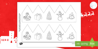 Christmas Pictures Party Hat Template Activity English/Spanish - Christmas, Nativity, Jesus, xmas, Xmas, Father Christmas, Santa, EAL, decoration, decorations,Spanis