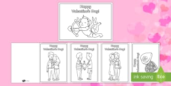 Valentine's Day Colouring in Cards - Valentine's Day,  Feb 14th, love, cupid, hearts, valentine, valentine's day, va;entine's cards, c