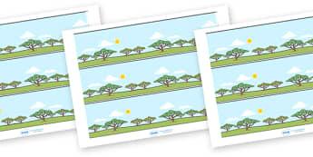 Frise de panneau d'affichage : La savane africaine - Affiche, poster, Afrique, décorer, décoration, bordure, cycle 1