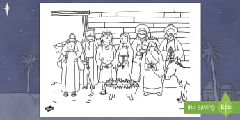 Christmas Story Stable Colouring Page