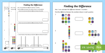 Year 2 Finding the Difference Differentiated Activity Sheets - take away, subtract, minus, less, worksheet