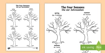 Four Seasons Tree Drawing Writing Template English/German - EAL, German, Four Seasons Tree Drawing Template - seasons, trees, plants, draw, ,German-translation