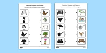 Garden Shadow Matching Worksheet - garden, shadow, matching, worksheet, back garden, outside