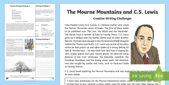 The Mourne Mountains and C.S. Lewis Writing Worksheet / Activity Sheet - World Around Us, County Down, authors, Narnia, novel, Chronicles, inspiration, Lion, Witch, Wardrobe