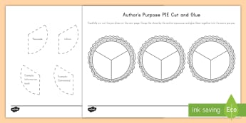 Author's Purpose PIE Cut and Glue Activity Sheet - Author's Purpose, Inform, Entertain, Persuade, Purpose, worksheet