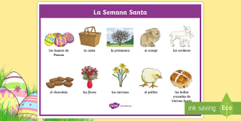 Easter SpanishWord Mat - Spring, KS2, Spanish, MFL, easter, word mat,Spanish