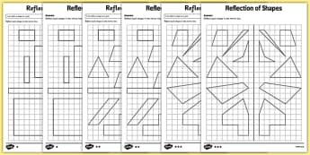 Reflection of Shapes Worksheet / Activity Sheet Pack - KS2, Key Stage 2, Year 5, reflect, reflection, worksheet, congruent, congruence