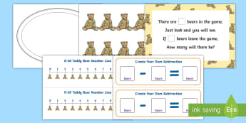 Spotty Bear Subtraction Game Activity Sheets - Using quantities and objects, add and subtract two single-digit numbers, count on or back to find th