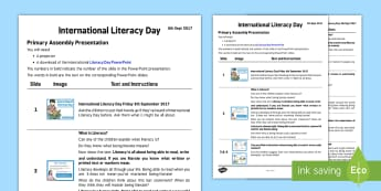 International Literacy Day 2017 Assembly Presentation - assembly