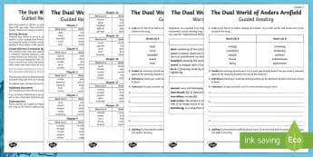 The Dual World of Anders Arnfield Vocabulary Activity - The Dual World of Anders Arnfield, Story, text, guided reading, vocabulary, definitions, dictionary,